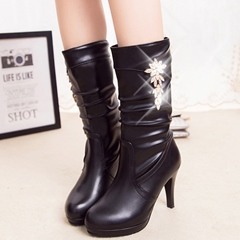 Shoespie Chic Round Toe Rhinestone Mid Heel Mid Calf Boots