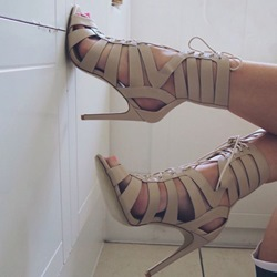 Shoespie Nude Lace Up Sandals