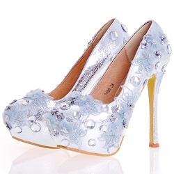 Shoespie Chic Sliver Paillette Platform Bridal Shoes