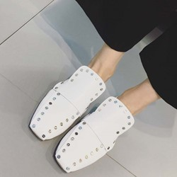 Shoespie Chic Rivets Rectangular Toe Loafers