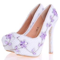 Shoespie Beads Slip-On Ultra-High Heel Wedding Shoes
