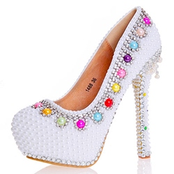Shoespie Beads Round Toe Ultra-High Heel Wedding Shoes
