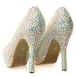 Shoespie Low-key Luxury Beaded Platform Bridal Shoes