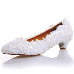 Shoespie White Classy Low Heel Bridal Shoes