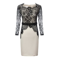 Shoespie Patchwork Lace Slash Neck Long Sleeve Bodycon Dress