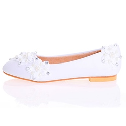 Shoespie White Floral Appliqued Flat Bridal Shoes