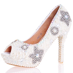 Beads Peep Toe Wedding Shoes