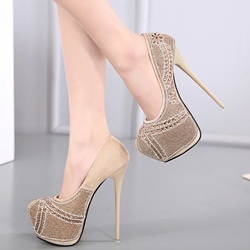 Shoespie Low-key Luxury Rhinestone Platform Heels