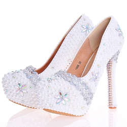 Shoespie Beads Low-Cut Upper Ultra-High Heel Wedding Shoes