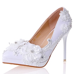 Shoespie Chic White Floral Appliqued Bridal Shoes