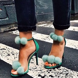 Shoespie Green Fur Ball Decorated Sandals