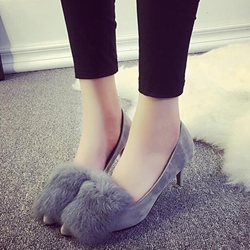 Shoespie Low-key Luxury Furry Kitten Heels
