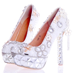 Shoespie Rhinestone Ultra-High Heel Wedding Shoes