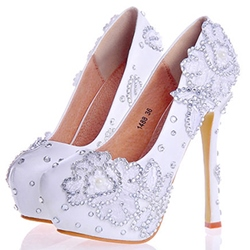 Rhinestone Ultra-High Heel Wedding Shoes