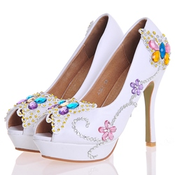 Shoespie Chic Floral Appliqued Peep Toe Bridal Shoes