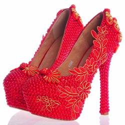 Beads Ultra-High Heel Wedding Shoes