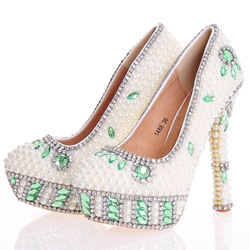 Shoespie Beads Round Toe Ultra-High Heel Wedding Shoe