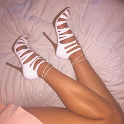 Shoespie White Lace Up Sandals