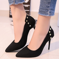 Shoespie Plain Rivets Stiletto Cheep Heels