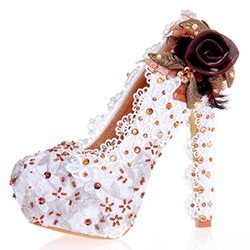 Appliques Ultra-High Heel Wedding Shoes