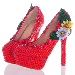 Shoespie Rhinestone Round Toe Ultra-High Heel Wedding Shoes