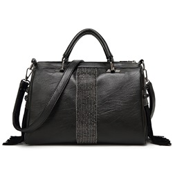Shoespie High-end Black Tassels Medium Handbag