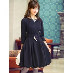 Plain Round Neck Bowknot Lantern Dress