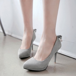 Shoespie Plain Back Bow Stiletto Heels