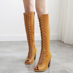 Shoespie Plain Lace Up Block Heel Knee High Sandal Boots