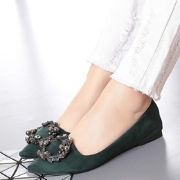 Shoespie Satin Pointed Toe Buckle Loafers