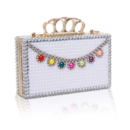 Shoespie Luxurious Ivory Jewelled Banquet Clutch Bag