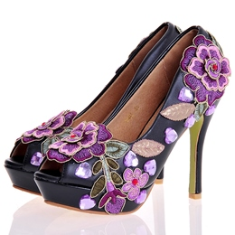 Shoespie Chic Floral Embroidered Platform Heel Bridal Shoes