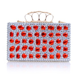 Shoespie Red Rhinestone Appliqued Banquet Clutch Bag