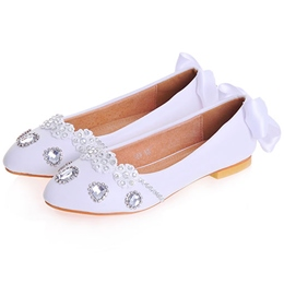 Shoespie Casual Jewelled Back Ribbob Bowtie Flat Bridal Shoes