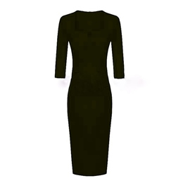 Shoespie Plain Knee-Length Square Neck Half Sleeve Bodycon Dress