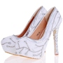 Shoespie Chic White Beaded Platform Bridal Shoes