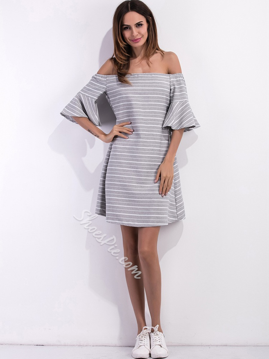 Shoespie Cotton A-Line Flare Sleeve High-Waist Dress
