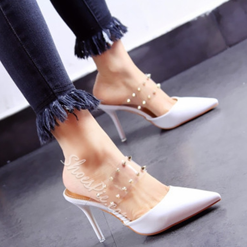 Shoespie Pointed Toe PVC Strappy Sandals