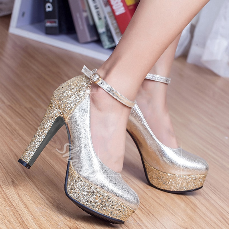 Shoespie Classy Sequine Ankle Wrap Platform Bridal Shoes