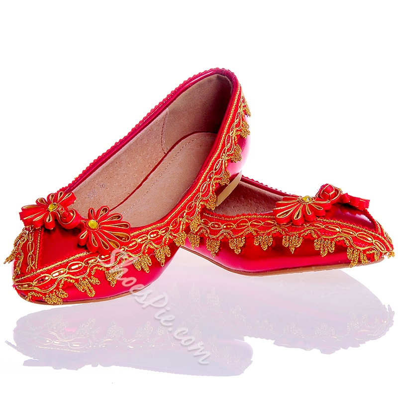 Shoespie Red Pointed Toe Flat Bridal Shoes