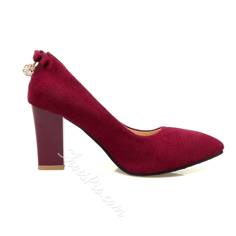 Shoespie Solid Suede Like Chunky Heel Pumps