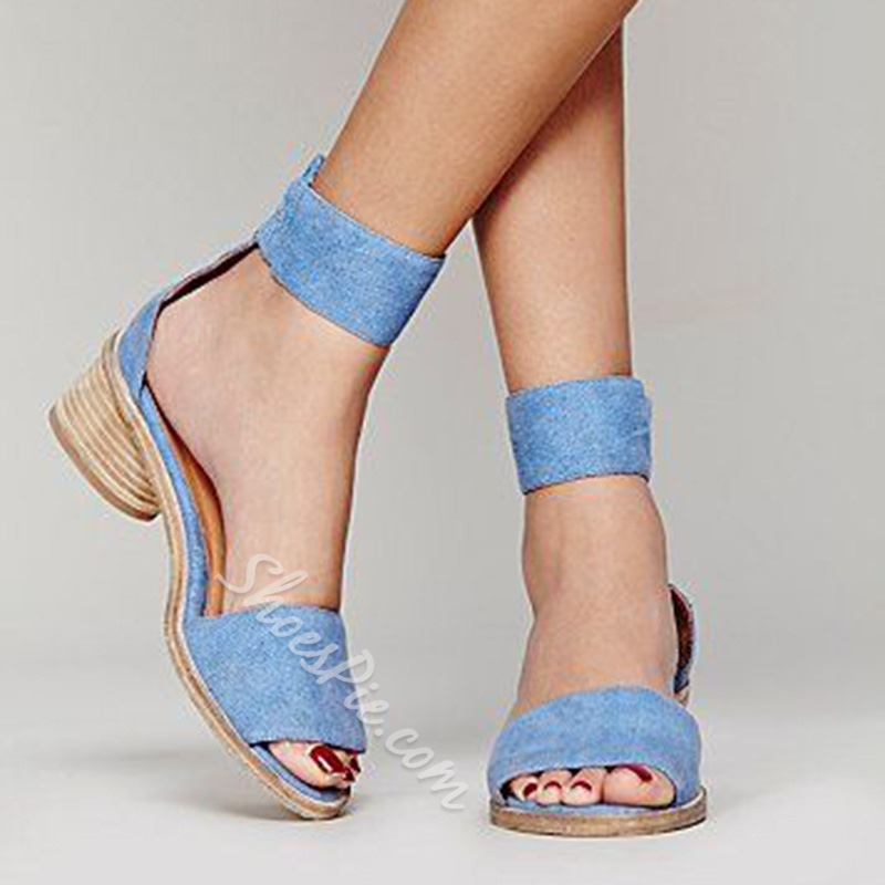 Shoespie Blue Low Heel Sandal