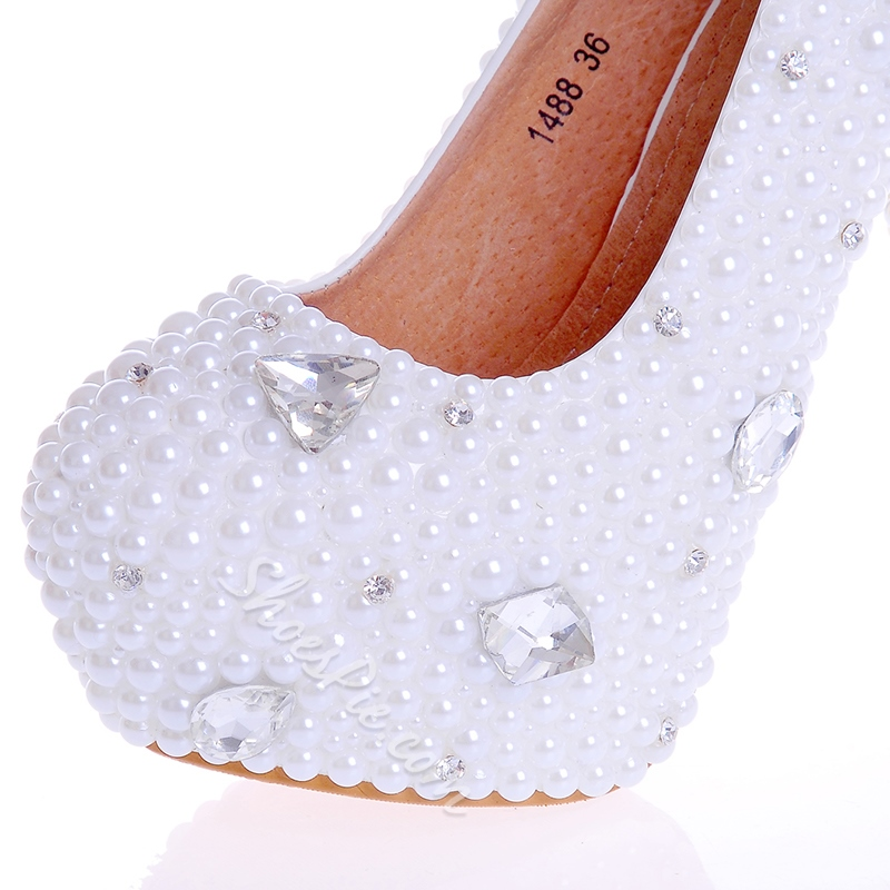 Shoespie Round Toe Beads Ultra-High Heel Wedding Shoes