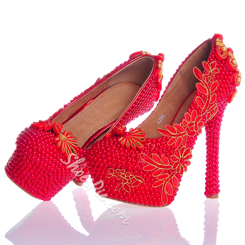 Shoespie Beads Ultra-High Heel Wedding Shoes