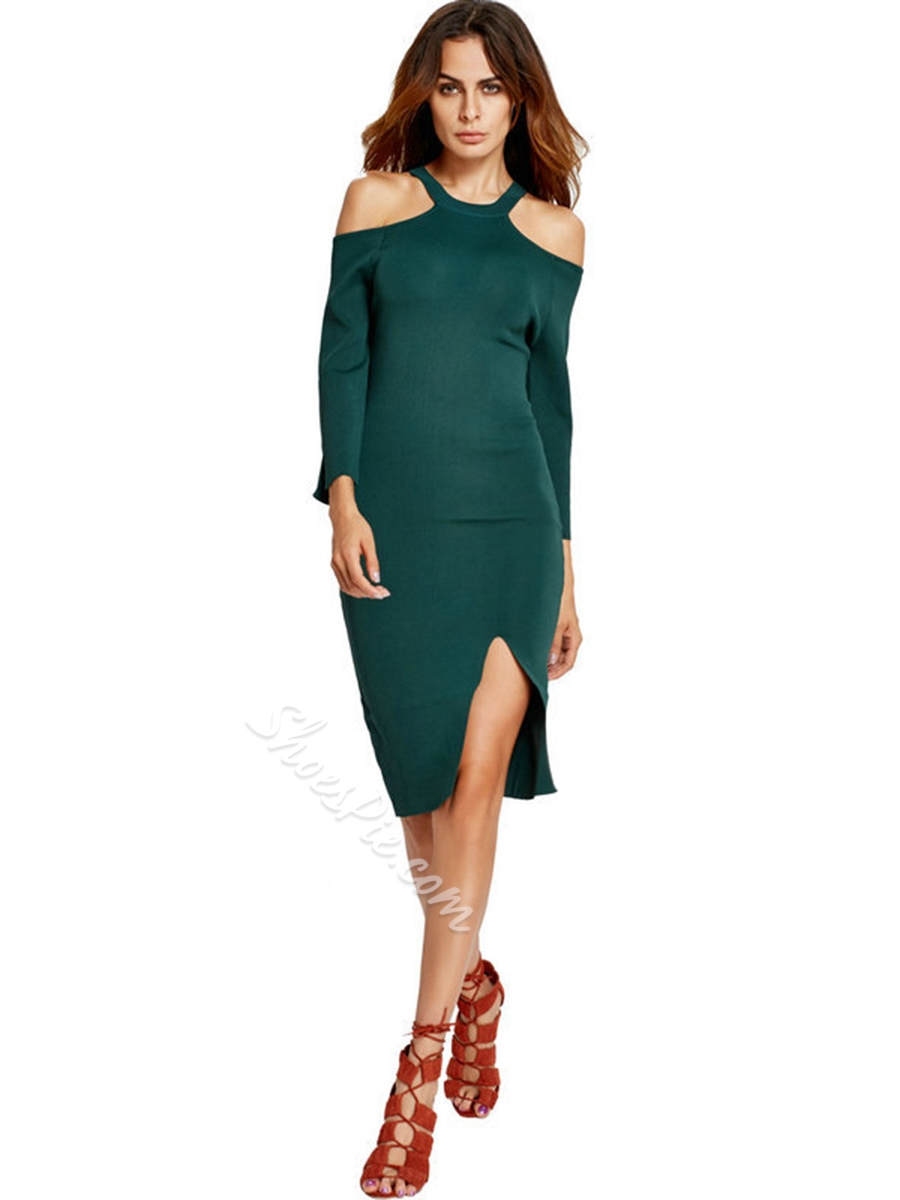 Shoespie Asymmetrical Off-The-Shoulder Long Sleeve Bodycon Dress