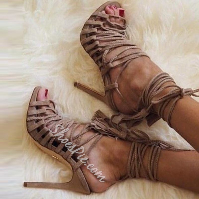 Shoespie Light Coffee Lace Up Sandals