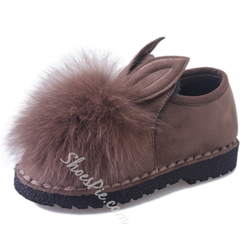 Shoespie Rabbit Ear Shape Fur Loafers