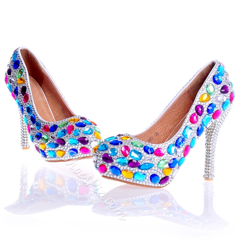 Rhinestone Round Toe Ultra-High Heel Wedding Shoes