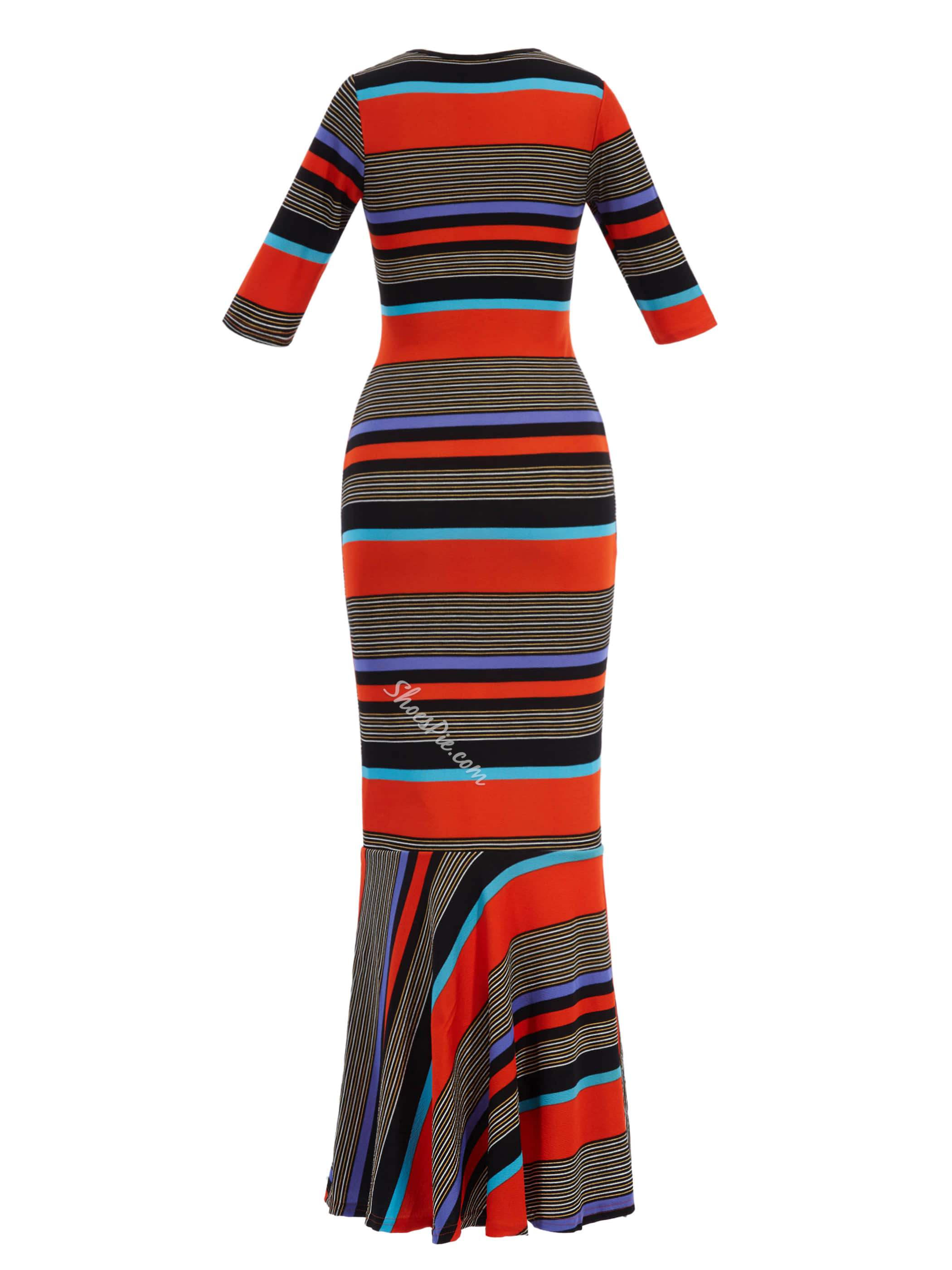 Shoespie Fashion Color Block Stripe Mermaid Dress