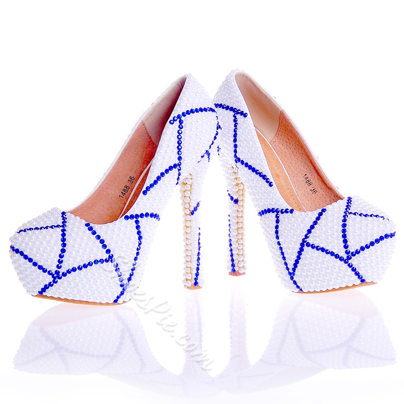 Shoespie Beads Round Toe Low-Cut Upper Ultra-High Heel Wedding Shoes
